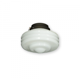 FL114 White Ribbed Glass with F4S Fitter - Shown in Oil Rubbed Bronze