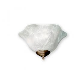 FL140 White Marble Glass Bowl Fan Light - Antique Brass Shown