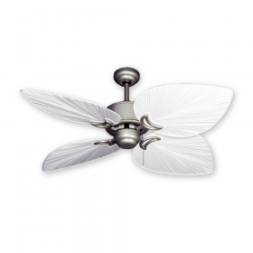 """50"""" Bombay Ceiling Fan - Brushed Nickel with Pure White Blades"""