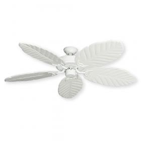 """52"""" Tropical Wood Leaf Bermuda V - Pure White w/ Pure White Blades"""