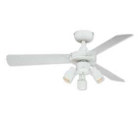 """42"""" Vaxcel Cyrus White Finish with White / Washed Oak Reversible Blades and Light Kit"""