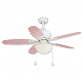 """44"""" Vaxcel Alex White Finish with Pink / Polka Dots Reversible Blades and Light Kit"""
