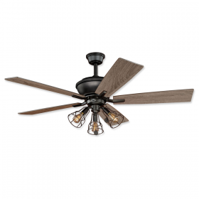 """52"""" Vaxcel Clybourn Bronze Finish with Driftwood / Dark Maple Reversible Blades and Light Kit"""