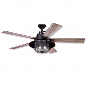 """56"""" Vaxcel Charleston New Bronze Finish with Driftwood / Dark Maple Reversible Blades and Light Kit"""