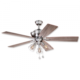 """52"""" Vaxcel Clybourn Satin Nickel Finish with Driftwood / Walnut Reversible Blades and Light Kit"""