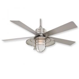 "Minka Aire Rainman F582-BNW - LED - 54"" Ceiling Fan Brushed Nickel Wet"