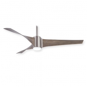 Minka Aire Triple Ceiling Fan - F832L-BS - Brushed Steel / Urban Light Oak Blades