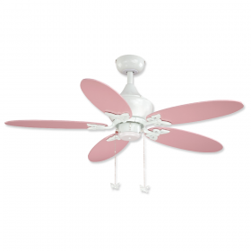 """44"""" Vaxcel Alice White Finish with Solid Pink / Daisy Print Reversible Blades"""