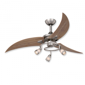 """48"""" Vaxcel Picard Brushed Nickel Finish with Distressed Pine Blades and Light Kit"""