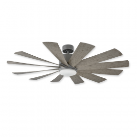 """60"""" Modern Forms Windflower Graphite Finish with Weather Gray Blades and Light Kit"""