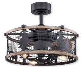 Vaxcel Barnes Ceiling Fan - Matte Black w/ Driftwood Blades