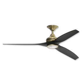 "60"" Fanimation Spitfire Brushed Satin Brass Finish With Black Blades and Light"