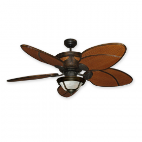 """Gulf Coast Moroccan 52"""" Rattan Ceiling Fan with Light - Oil Rubbed Bronze"""