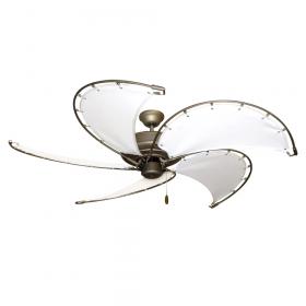"""52"""" Nautical Ceiling Fan - Raindance Antique Bronze w/ White Canvas"""