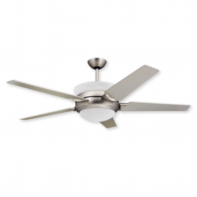 """TroposAir Sunrise - 56"""" Ceiling Fan with Uplight and Remote - Satin Steel Finish"""