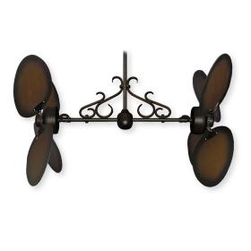 "Twin Star III Ceiling Fan - Oil Rubbed Bronze - 50"" Lg. Oval Distressed Walnut Blades (shown w/ optional scroll)"
