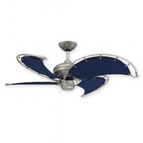 "40"" Voyage - Nautical Ceiling Fan - Brushed Nickel w/ Blue Sail Blades"